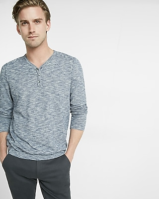 Express Mens Exposed Seam Henley Sweater