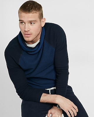 Express Mens Cotton Textured Crossover Funnel Neck Sweater