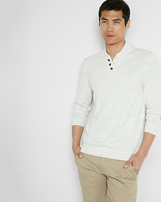 Express Mens Wool-Blend Baseball Henley Sweater