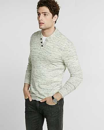 wool-blend baseball henley sweater