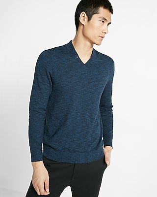 Express Mens Notch Neck Baseball Sweater