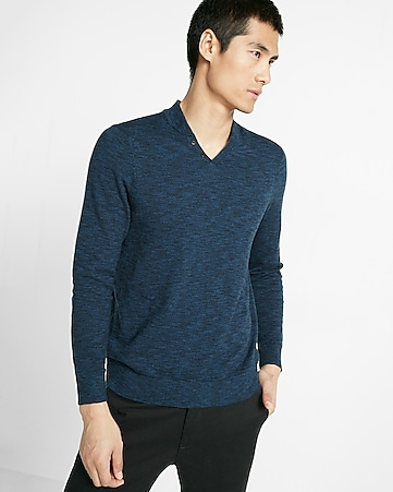 notch neck baseball sweater