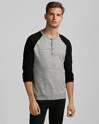 Express Mens Color Block Raglan Henley Sweater
