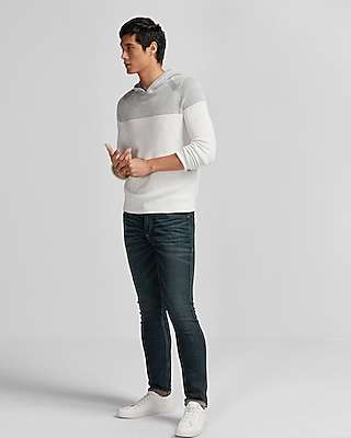 Express Mens Ribbed Hooded Sweater