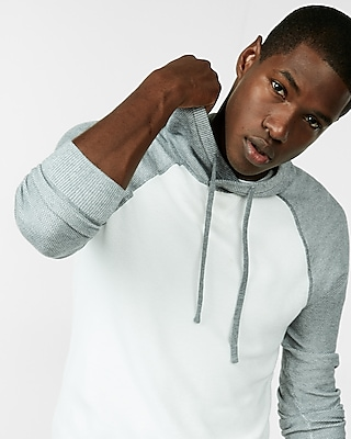 Express Mens Color Blocked Textured Sweater Hoodie