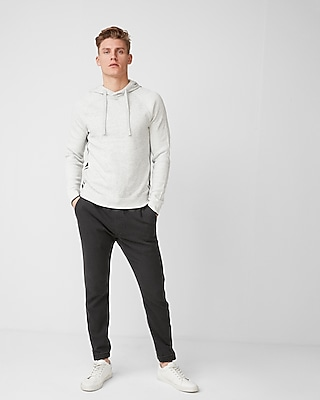 Express Mens Side Stripe Cotton Hooded Sweater