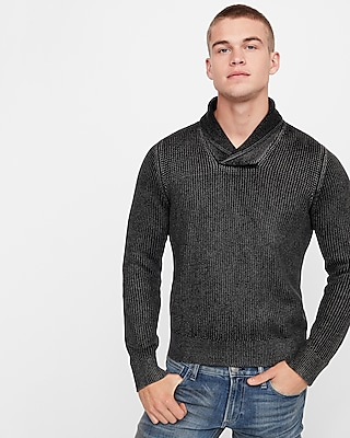 Express Mens Garment Dyed Shawl Collar Popover Sweater