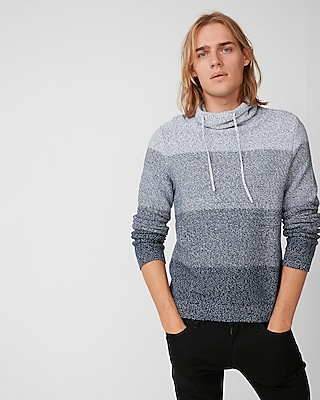 Express Mens Ombre Marled Funnel Neck Sweater
