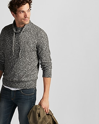 Express Mens Marled Funnel Neck Pullover Sweater