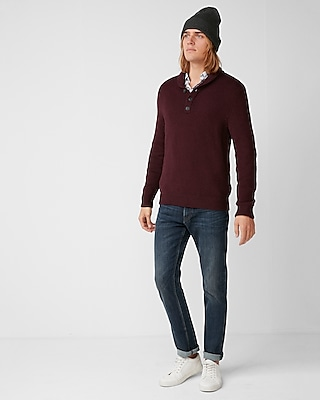 Express Mens Shawl Neck Henley Sweater