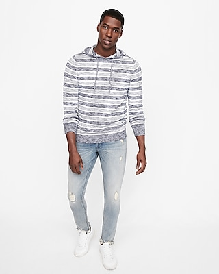 Express Mens Striped Hooded Sweater