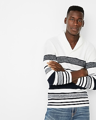 Express Mens Striped Shawl Collar Popover Sweater