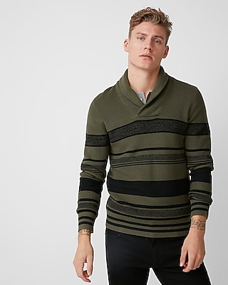 Express Mens Striped Shawl Collar Popover Sweater Green X Small
