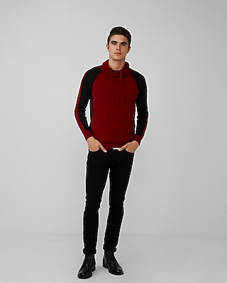 Express Mens Arm Stripe Funnel Neck Sweater