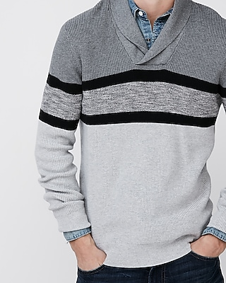 Mens Shawl Collar Color Block Popover Sweater