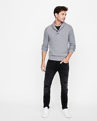 Express Mens Button Shawl Neck Popover Sweater
