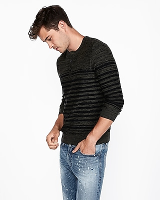 Express Mens Striped Henley Sweater