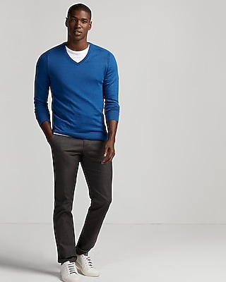 Express Mens Merino Wool Blend Performance V-Neck Sweater Blue X Small