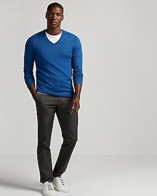 Express Mens Merino Wool Blend Thermal Regulating V-Neck Sweater Blue Men's Xs Blue Xs