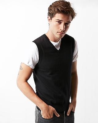 Express Mens Solid Sweater Vest