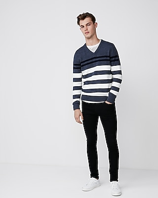 Express Mens Striped Cotton V-Neck Sweater