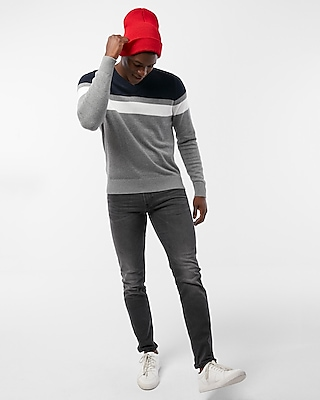 Express Mens Color Block Stripe V-Neck Sweater