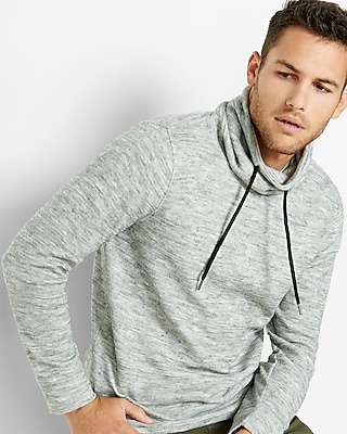 Express Mens Marled Funnel Neck Sweatshirt