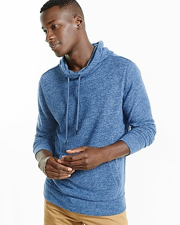 express one eleven plush jersey funnel neck hoodie
