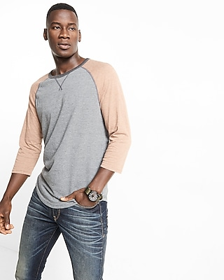 Express Mens Color Block Baseball Tee