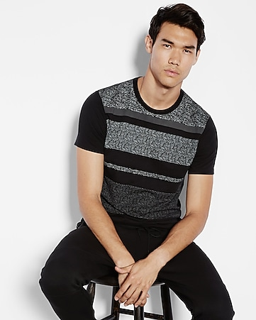 wide striped crew neck tee