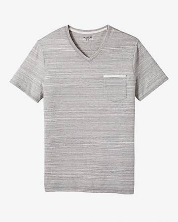 fine stripe pocket v-neck t-shirt