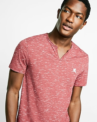 Express Mens Small Lion Notch Neck Tee Red Small