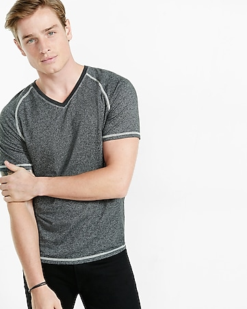 express one eleven speckled v-neck tee