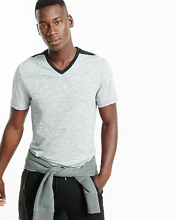 express one eleven fine stripe v-neck t-shirt