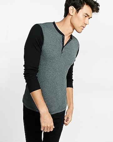 ribbed color blocked long sleeve henley