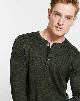 Express Mens Slub Textured Henley Green Small