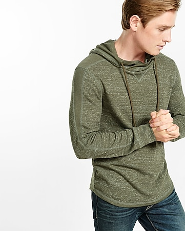 marled waffle knit crossover collar hoodie