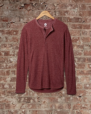 Express Mens Soft Waffle Knit Henley Red Small