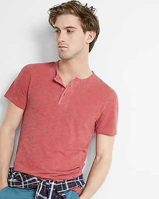 Express Mens Wide Placket Garment Dyed Short Sleeve Henley Red Large