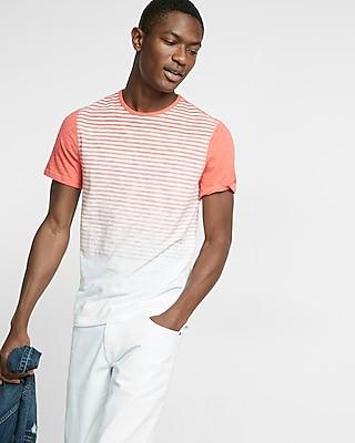 Express Mens Ombre Stripe Short Sleeve Tee Orange X Small