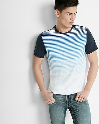 Express Mens Ombre Stripe Short Sleeve Tee Blue X Small