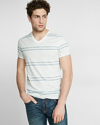 Express Mens Striped Crossover V Neck Tee White X Small