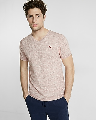 Express Mens Space Dye Jersey V-Neck Tee Red X Small