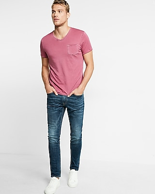 Raw Edge Short Sleeve V-neck Tee