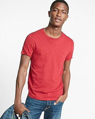 Express Mens Slub Crew Neck Cotton Tee Red Large 10814826
