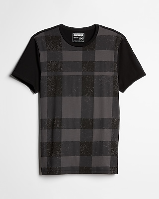 Express Mens Plaid Crew Neck Tee