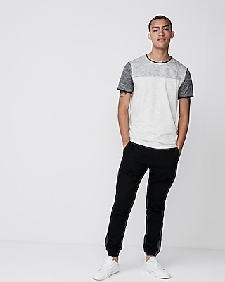 Express Mens Marled Jersey Stretch Crew Neck Tee