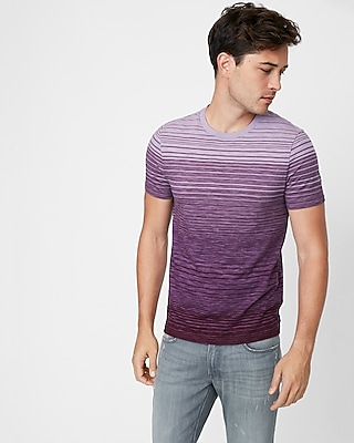 Express Mens Printed Stripe Crew Neck Tee Purple X Small