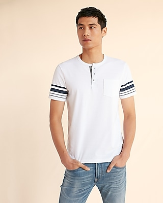 Express Mens Recycled Stretch Jersey Henley Tee