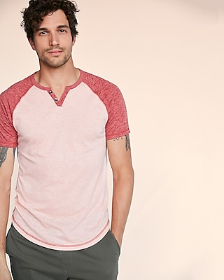 Express Mens Burnout Henley Tee